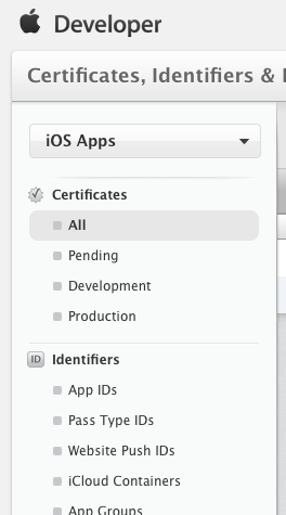 Apple Developer Certificates section