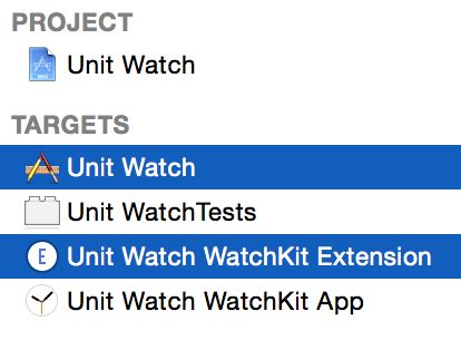 Xcode watch targets